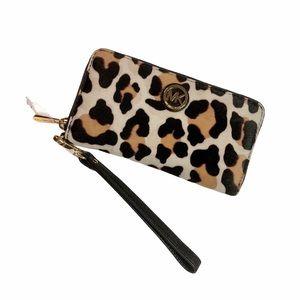 MICHAEL KORS | NWOT Leopard Calf Hair Zip Wallet